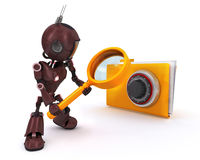 Android searching files. 3D Render of an Android searching files Stock Photos