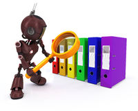 Android searching files. 3D Render of an Android searching files Stock Image