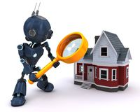 Android searching for a house. 3D Render of an Android searching for a house Royalty Free Stock Photos