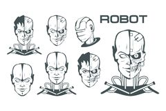 Android set. Robotic face. Robot logo for design. Robotics. Vector graphics to design royalty free illustration