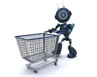 Android with shopping cart. 3D Render of an Android with shopping cart vector illustration
