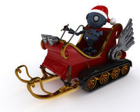Android in snowmobile sleigh Royalty Free Stock Photo