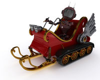 Android in snowmobile sleigh Royalty Free Stock Photos