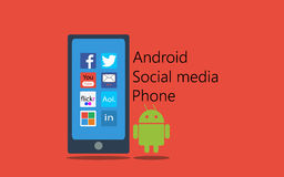 Android social media phone. Illustrations-clipart android social media phone stock illustration