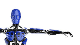Android spreading arms. A blue android or robot spreading his arms on white background royalty free illustration