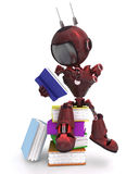 Android with stack of books Royalty Free Stock Images