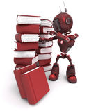 Android with stack of books. 3D Render of an Android with stack of books vector illustration