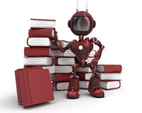 Android at with stack of books Stock Photos