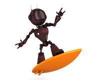 Android Surfer. 3D Render of a Android surfer vector illustration