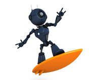 Android Surfer. 3D Render of a Android surfer royalty free illustration
