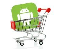 Android symbol som förläggas in i shoppingvagnen Fotografering för Bildbyråer