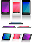 Android Tablet Pack. Tablets displayed in different angles vector illustration