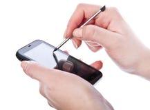 Android-Telefon mit Griffel lizenzfreies stockfoto
