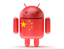 Android textured with flag of china. Technology concept. Isolated Stock Image