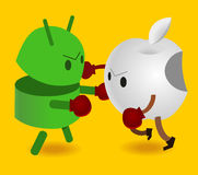 Android vs apple Royalty Free Stock Photos
