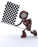 Android waving chequered flag Royalty Free Stock Photography