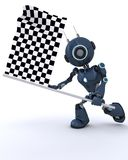 Android waving chequered flag. 3D Render of an Android waving chequered flag royalty free illustration