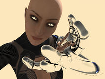 Android woman. 3d render of female android Royalty Free Stock Photo