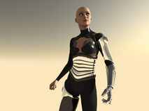 Android woman. 3d render of female android Stock Photos