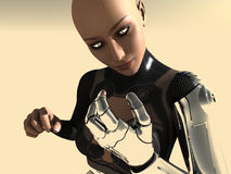 Android woman. 3d render of female android Royalty Free Stock Photography