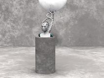 Android woman head on a podium. An android woman head on a podium. The head is connected to a big sphere through cables. Grey stone wall in the back and stone Royalty Free Stock Image