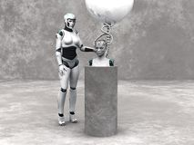 Android woman head on a podium. An android woman head on a podium. A female robot standing beside her. The head is connected to a big sphere through cables Royalty Free Stock Image