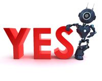 Android with yes sign. 3D Render of an Android with yes sign Royalty Free Stock Photography