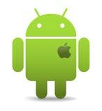 Androide con el corazón de la manzana Imagen de archivo libre de regalías