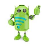 Androide con el símbolo de WiFi ilustración del vector