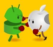 Androide contro la mela Fotografie Stock Libere da Diritti