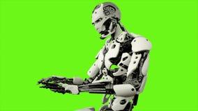 Androide del robot che gioca il piano Moto realistico sullo schermo verde rappresentazione 3d illustrazione vettoriale