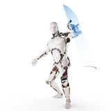 Androide Guard. Images robot with a transparent blue shield Stock Photography