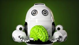 Androide que sostiene un cerebro verde grande stock de ilustración