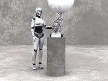 Androider Frauenkopf auf einem Podium. Lizenzfreies Stockbild