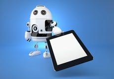 Androider Roboter mit Berührungsfläche auf blauem Hintergrund Lizenzfreie Stockfotografie