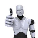 Androider Roboter mit dem Daumen oben Lizenzfreie Stockfotografie