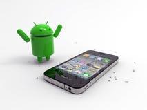 Androides Zeichen gegen Iphone. Lizenzfreies Stockfoto