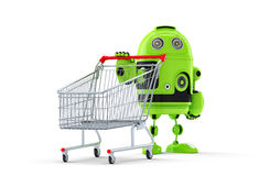Androidrobot och vagn. E-shoppa begreppet Arkivfoto