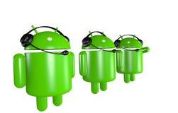 androidrobotar stöttar tre Arkivfoto