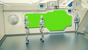 Androids σε ένα διαστημόπλοιο που υποστηρίζει στο πλανήτη Γη υποβάθρου Μια φουτουριστική έννοια ενός UFO Στοκ εικόνα με δικαίωμα ελεύθερης χρήσης