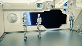 Androids auf einem Raumschiff argumentierend auf Hintergrundplanet Erde stockfotografie