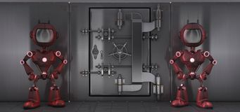 Androids guarding a bank vault. 3d render of Androids guarding a bank vault Stock Image