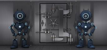 Androids guarding a bank vault. 3D render of two androids guarding a bank vault Royalty Free Stock Images