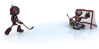 Androids playing ice hockey Royalty Free Stock Photography
