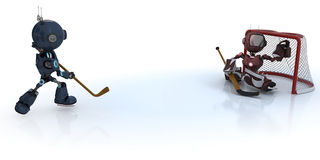Androids playing ice hockey Stock Photos