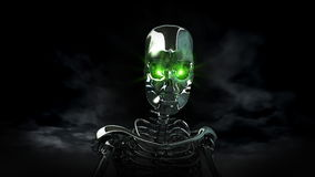 Androidu Ludzki cyborg z Zielonymi oczami royalty ilustracja