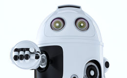 Androidu robot wskazuje przy tobą. Obrazy Stock