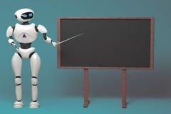 Androidu robot z pointeru kijem na błękitnym tle 3D illustra ilustracji