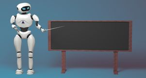 Androidu robot z pointeru kijem na błękitnym tle 3D illustra royalty ilustracja