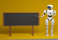 Androidu robot z pointeru kijem na pomarańczowym tle 3d illust royalty ilustracja